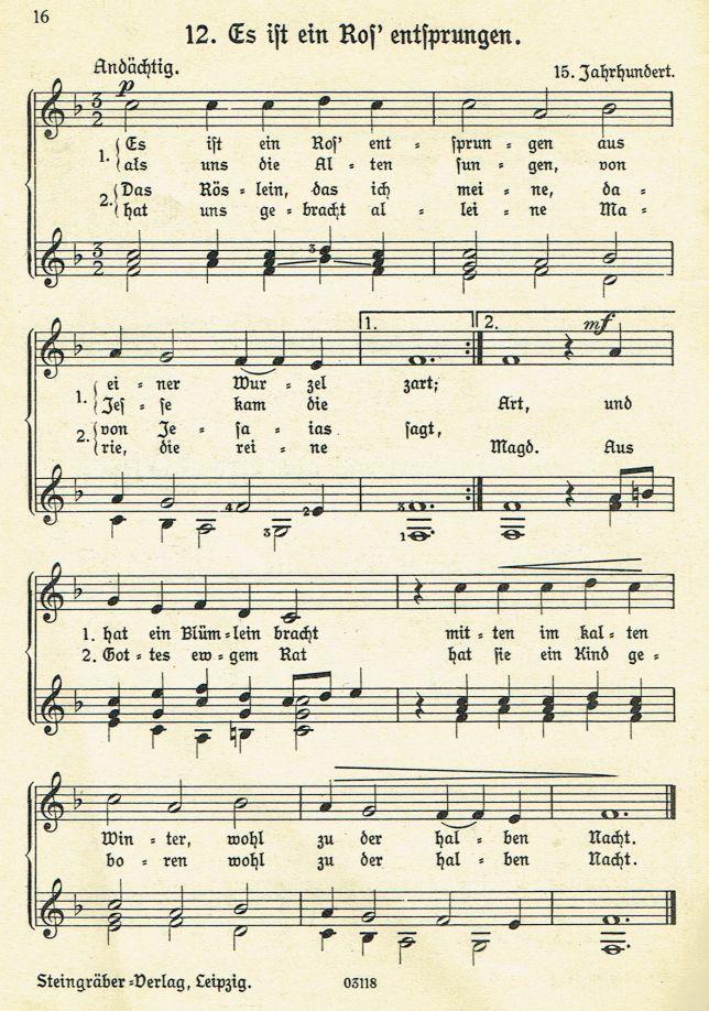Es ist ein Ros\' entsprungen - Weihnachtslieder mit Noten und Texten ...