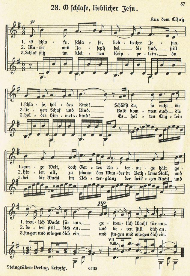 O schlafe, schlafe lieblicher Jesus - Weihnachtslieder mit Noten und ...