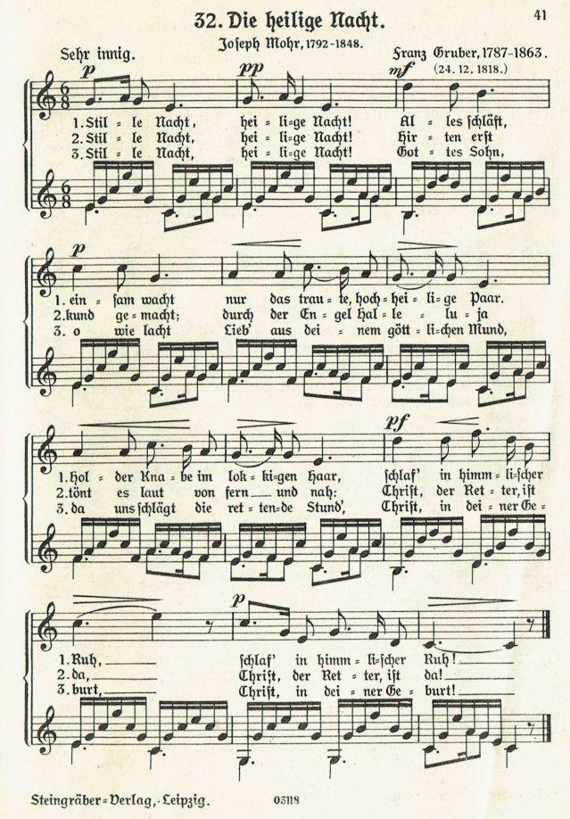 Weihnachtslieder Geschichte.Stille Nacht Heilige Nacht Weihnachtslieder Mit Noten Und Texten